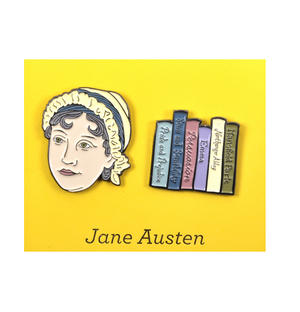 Jane Austen & Novels Twin Pin Set - Badge / Pin / Lapel Pin by Unemployed Philosophers Guild Thumbnail 1