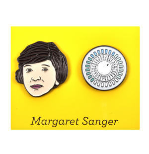 Margaret Sanger & The Pill Twin Pin Set - Badge / Pin / Lapel Pin by Unemployed Philosophers Guild Thumbnail 1