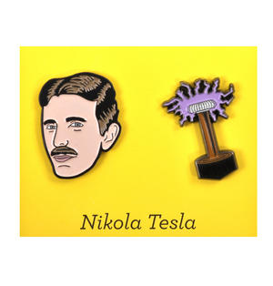 Nikola Tesla & Coil Twin Pin Set - Badge / Pin / Lapel Pin by Unemployed Philosophers Guild Thumbnail 1