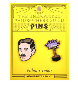 Nikola Tesla & Coil Twin Pin Set - Badge / Pin / Lapel Pin by Unemployed Philosophers Guild Thumbnail 2