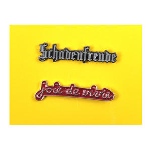 Schadenfreude / Joie de vivre  Twin Pin Set - Badge / Pin / Lapel Pin by Unemployed Philosophers Guild Thumbnail 1