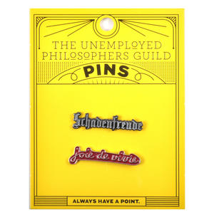 Schadenfreude / Joie de vivre  Twin Pin Set - Badge / Pin / Lapel Pin by Unemployed Philosophers Guild Thumbnail 2