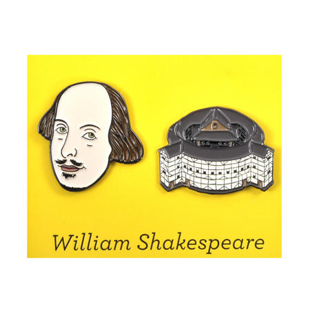 William Shakespeare & The Globe Theatre Twin Pin Set - Badge / Pin / Lapel Pin by Unemployed Philosophers Guild