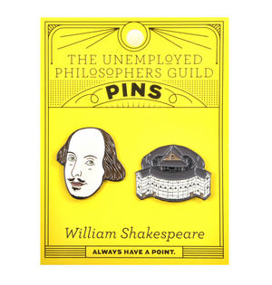 William Shakespeare & The Globe Theatre Twin Pin Set - Badge / Pin / Lapel Pin by Unemployed Philosophers Guild Thumbnail 2