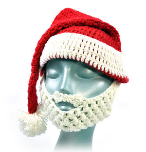 Knitted Santa Claus Hat with Detachable Beard Thumbnail 2