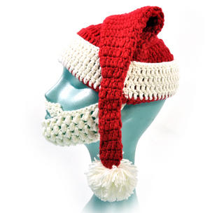 Knitted Santa Claus Hat with Detachable Beard Thumbnail 3