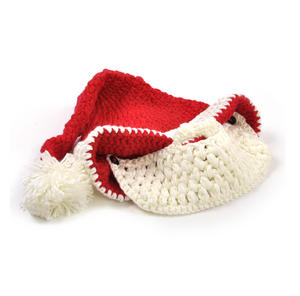 Knitted Santa Claus Hat with Detachable Beard Thumbnail 5