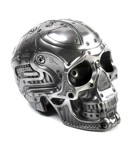 Techno Head Gun Metal Skull 19cm