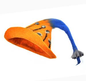 Tiger Lily Flower Blue & Orange Felt Pixie Hat Thumbnail 2