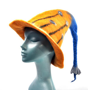 Tiger Lily Flower Blue & Orange Felt Pixie Hat Thumbnail 5