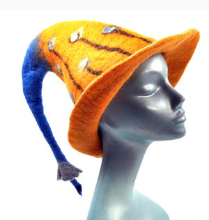 Tiger Lily Flower Blue & Orange Felt Pixie Hat Thumbnail 6