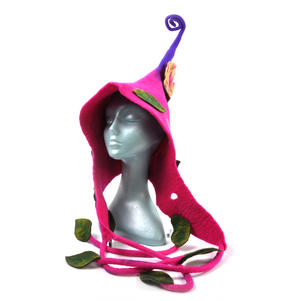 Pink & Purple Woodland Fairy Fantasy Felt Pixie Hood Thumbnail 3