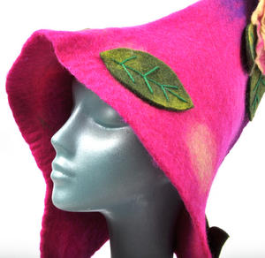 Pink & Purple Woodland Fairy Fantasy Felt Pixie Hood Thumbnail 5