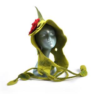 Green Woodland Fairy Fantasy Felt Pixie Hood