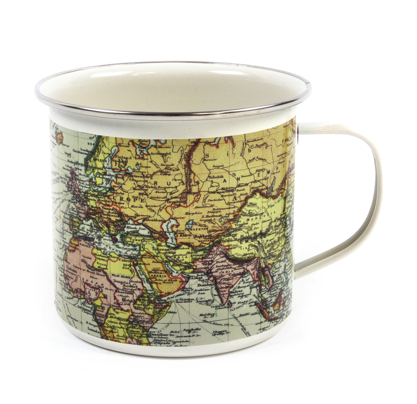 white map of the world enamel mug pink cat shop. Black Bedroom Furniture Sets. Home Design Ideas