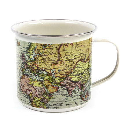 White Map of the World Enamel Mug