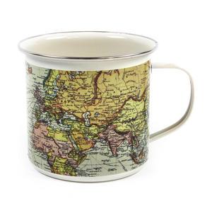 White Map of the World Enamel Mug