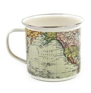 White Map of the World Enamel Mug Thumbnail 3