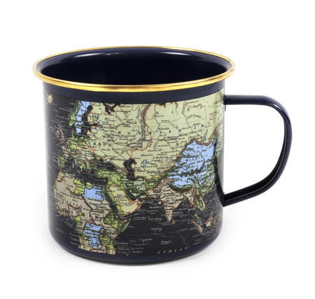 Blue Map of the World Enamel Mug