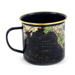 Blue Map of the World Enamel Mug Thumbnail 3
