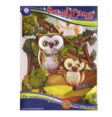 Owls Swing Card - Award Winning Dynamic 3D Interactive Greetings Card