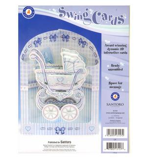 Baby Boy Pram Swing Card - Award Winning Dynamic 3D Interactive Greetings Card Thumbnail 2
