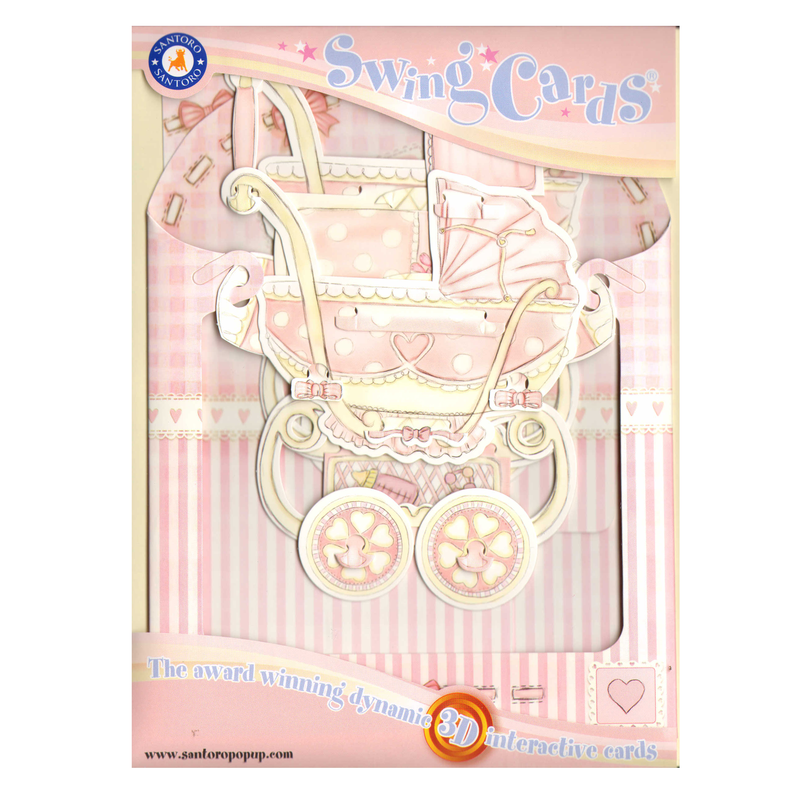 Baby Girl Pram Swing Card Award Winning Dynamic 3d Interactive