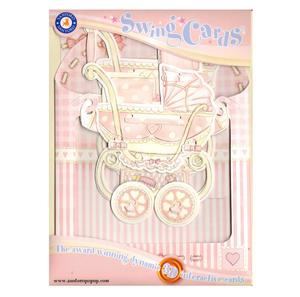 Baby Girl Pram Swing Card - Award Winning Dynamic 3D Interactive Greetings Card Thumbnail 1