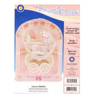 Baby Girl Pram Swing Card - Award Winning Dynamic 3D Interactive Greetings Card Thumbnail 2