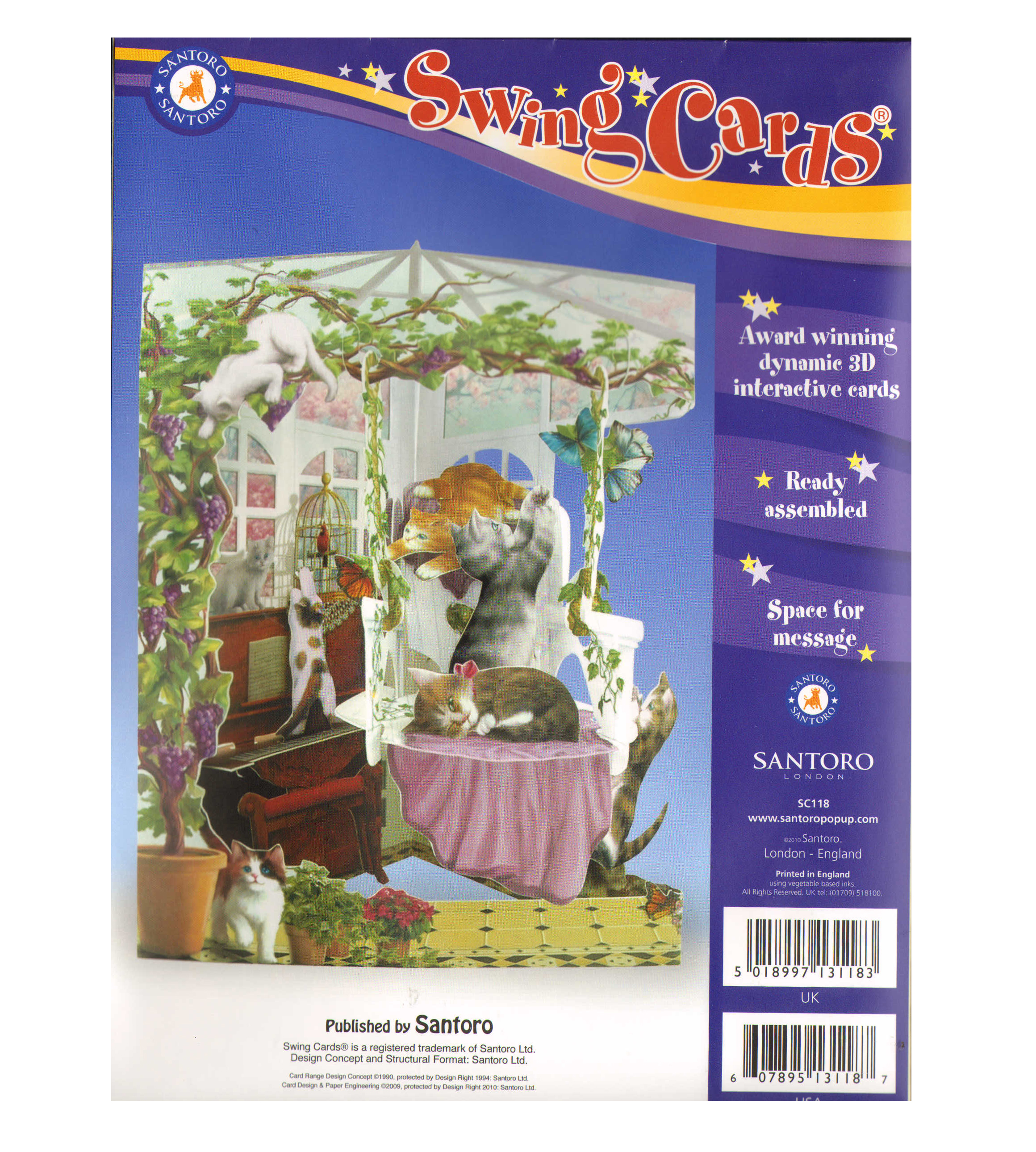 Cats in conservatory swing card award winning dynamic 3d cats in conservatory swing card award winning dynamic 3d interactive greetings card kristyandbryce Image collections