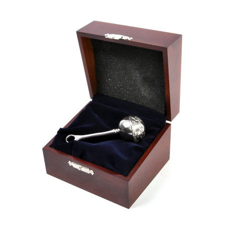 Teddy Bear Pewter Rattle in Wooden Gift Box - Teddy Bears Picnic by Royal Selangor