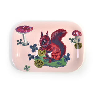 "Red Squirrel Mini Melamine Serving Tray 20cm / 8"" x 14cm / 5"""