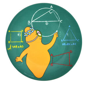 "Barbalib Maths Lesson - Barbapapa Melamine Dessert Plate 20cm / 8"" Diameter Thumbnail 1"
