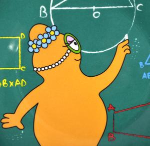 "Barbalib Maths Lesson - Barbapapa Melamine Dessert Plate 20cm / 8"" Diameter Thumbnail 2"