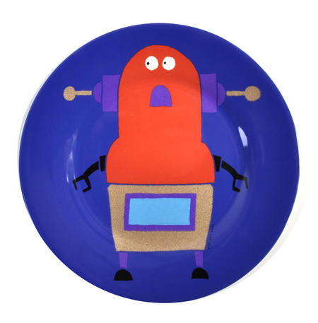 "Robots for Dinner - Melamine Dessert Plate 20cm / 8"" Diameter"