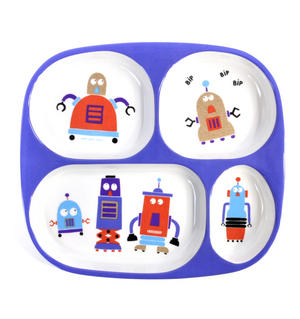 Robots for Dinner - Melamine 4 Compartment Serving Tray