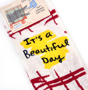 It's A Beautiful Day. Don't F*ck It Up - Soft Combed Cotton Socks - Women's Crew Thumbnail 2