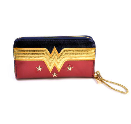 Wonder Woman Shield Red, Blue & Gold Star Long Wallet