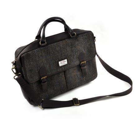 Harris Tweed Brown Leather Briefcase