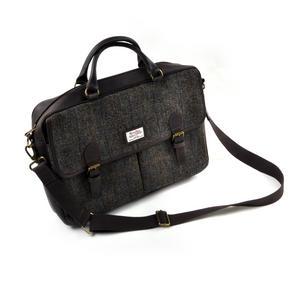 Harris Tweed Brown Leather Briefcase Thumbnail 1