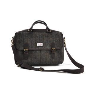 Harris Tweed Brown Leather Briefcase Thumbnail 3