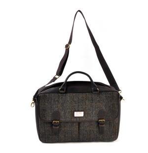 Harris Tweed Brown Leather Briefcase Thumbnail 7