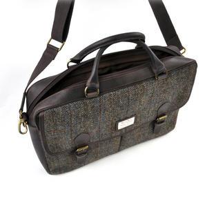 Harris Tweed Brown Leather Briefcase Thumbnail 8