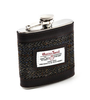 Harris Tweed Brown Outer Hebrides Hip Flask Thumbnail 1