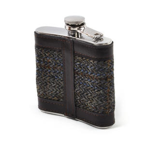 Harris Tweed Brown Outer Hebrides Hip Flask Thumbnail 2