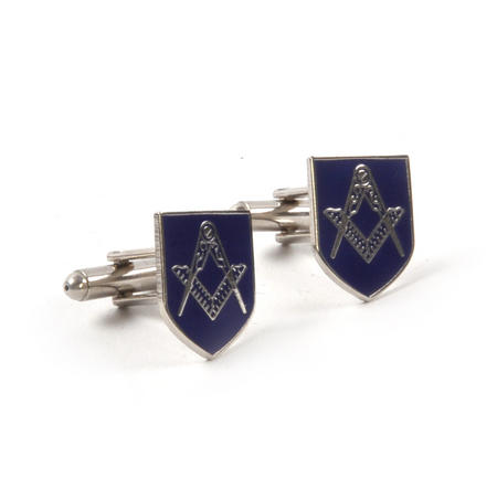 Cufflinks - Masonic Blue Shield Compass and Dividers in Presentation Case