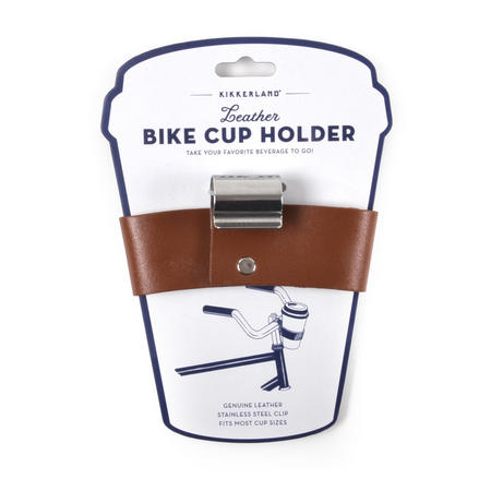 Leather Bike Cup Holder - Beverage Bicycle Strap-on