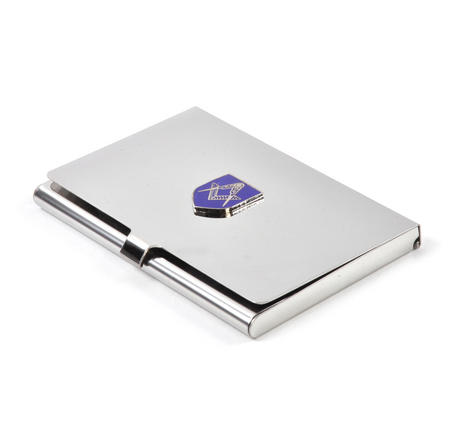 Masonic Business Card Case - High Polished Chrome with Mason Badge