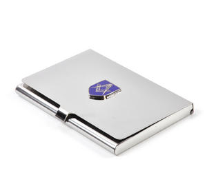 Masonic Business Card Case - High Polished Chrome with Mason Badge Thumbnail 1