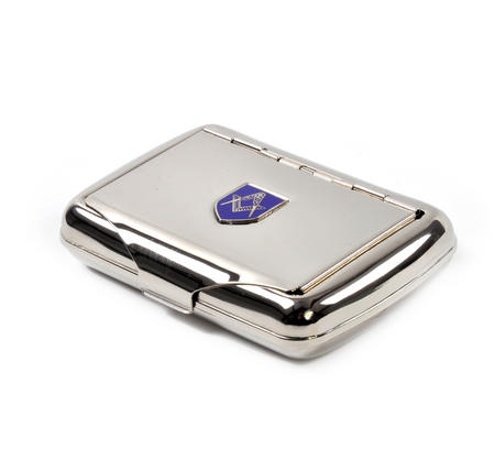 Masonic Tobacco Tin - High Polished Chrome with Mason Badge